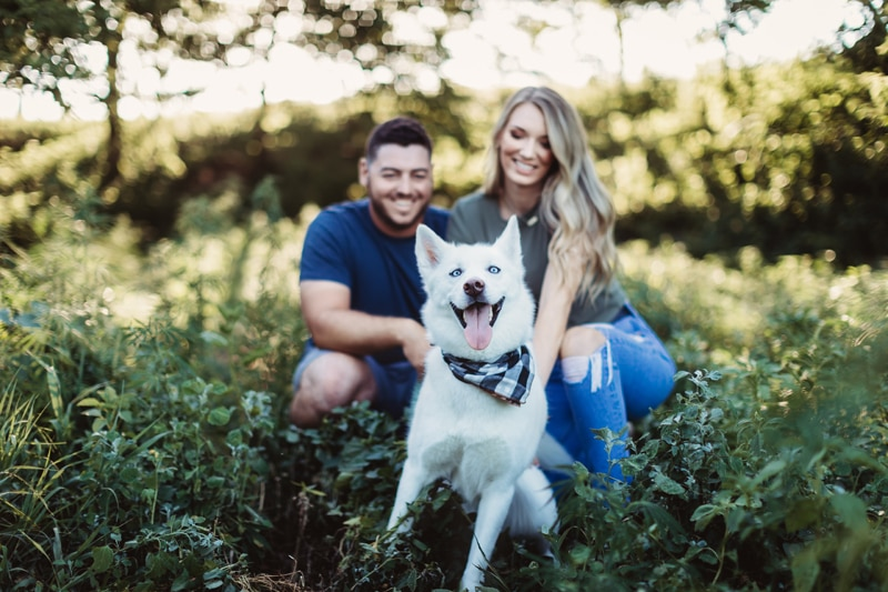 Temecula Family Photographer, couple posing with their white dog